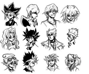 Yu-Gi-Oh Warm-Up Sketches by SailorAnime