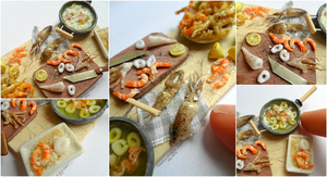 Miniaturefood 1:12 scale : Fried fish scene(detai) by Valentina-PinkCute
