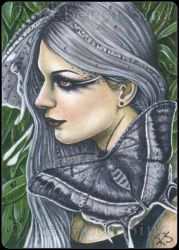ACEO -- Grey Sunset Moth by ElvenstarArt