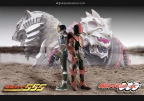Same Path Kamen Rider OOO 555 by Aldjokdja