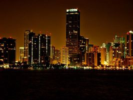 Miami Beach At Night by Crazito
