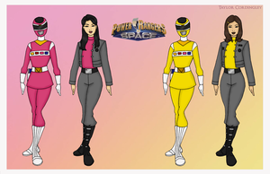 Pink and Yellow Space Power Rangers by Femmes-Fatales