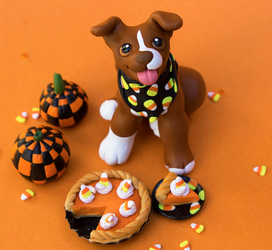 Pit bull puppy with pumpkin pie sculpture by SculptedPups