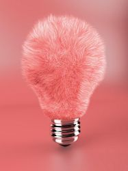 Pink fluffy lamp bulb by Geckly