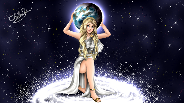 female goddess Atlas commission by ChibiYvi