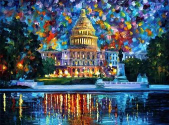 Capitol At Night Washington by Leonid Afremov by Leonidafremov
