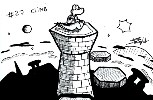 Croc themed Inktober - #27 CLIMB by ClaraKnight