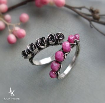 Stackable rose rings by JuliaKotreJewelry