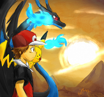 Red And Mega Charizard X by TakeoTheSavage