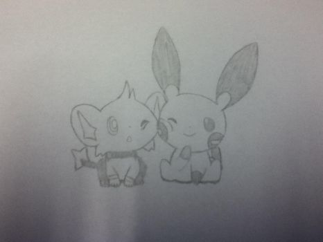 Shinx and Minun by Raven9899