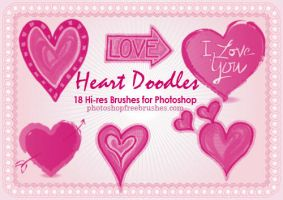 18 Heart Doodles PS Brushes by fiftyfivepixels