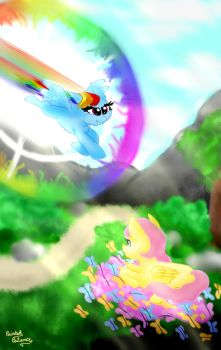 THe first Rainboom[commission] by PaintedPatience