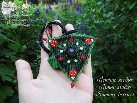 Beaded necklace Summer berries by LadyLunarCat