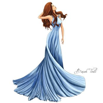 Glamorous Fashion Illustrations Coloring Book blue by BasakTinli
