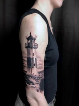 Lighthouse Tattoo by SelfmadeTattooBerlin