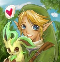 Link meets Leafeon by Daishota