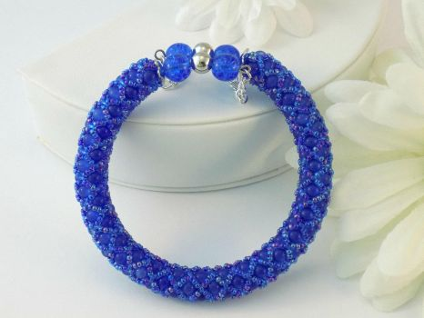 Blue Cats Eye Beaded Memory Wire Bracelet by iceblulady