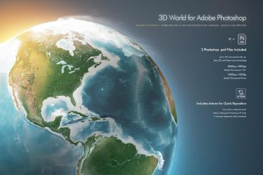 3d Globe World Earth for Photoshop by Giallo86