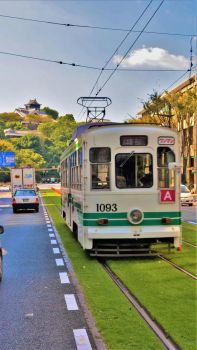 Tram and Castle in Kumamoto by Furuhashi335