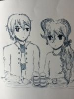ScoRose sharing Butterbeer by flamingotown