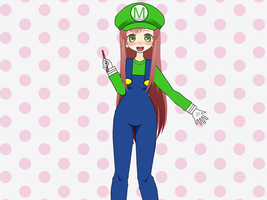 Monika In Mario Attire by HugoSanchez2000
