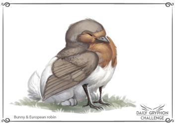 Gryphon Challenge 12 : Bunny and european robin by Pechschwinge