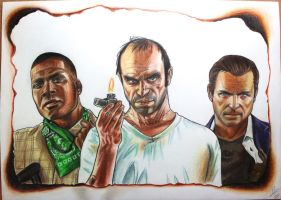 GTA V - Franklin, Trevor, and Michael drawing by SuperNikolai1996