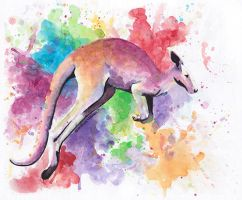 watercolor kangaroo by Flyinfrogg