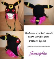 Umbreon crochet beanie 2 by Sasophie