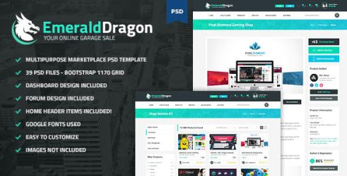 Emerald Dragon - PSD Multipurpose Marketplace by odindesign