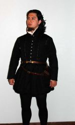 Black linen doublet and trunkhose front shot by CenturiesSewing
