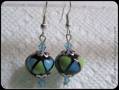 Blue and Green Geometric Design Glass Earrings by vibrantmelodydesigns