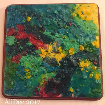 Colorful Melted Crayons on Wood by AliDee33