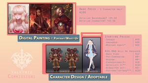2017 Commissions Info/Prices [SLOTS FULL] by Valkymie