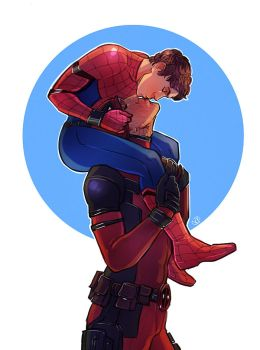 Spiderman x Deadpool - Kiss by maXKennedy