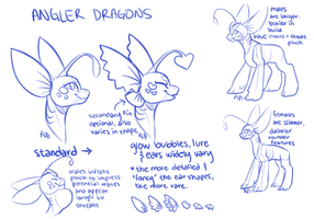 More angler dragon concept doodles by Neonigma