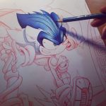 Sonic Hedgehog Commish WIP by RobDuenas