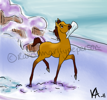 Spirit and his icicle by RandomArtTypePerson