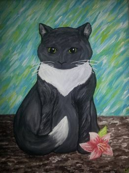 commissioned cat painting by smunk1