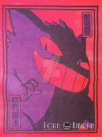 Pokemon Japanese Gengar Print Cross Stitch by LordLibidan