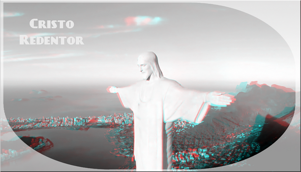 3D anaglyph Christ the Redeemer by gogu1234