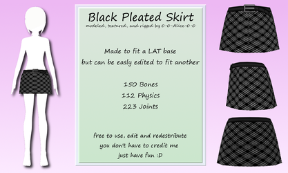 MMD Black Pleated Skirt DL by 0-0-Alice-0-0
