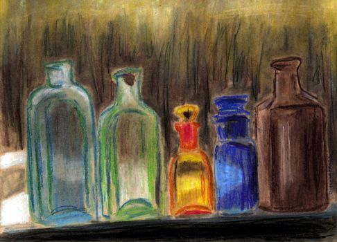 Old Medicine Bottles by Mira-Shadow