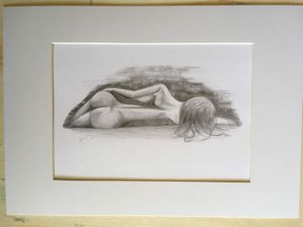 Lying Down - Pencil Drawing by BigAlien