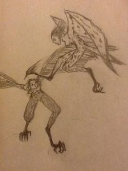 Harpy fight by RawmanNoodles