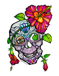 Sugar Skull And Flower Day of the Dead Art by popartdiva