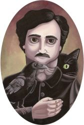 Edgar Allan Poe with a crow and a cat by HellbeeretH