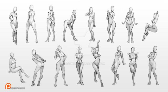 Female poses chart by AonikaArt