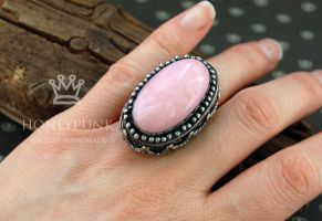 Ring with pink peruvian opal 1 by honeypunk