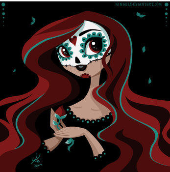 sugar skull lady by kinkei